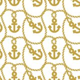 Seamless pattern with anchors. Ongoing background of marine theme. Royalty Free Stock Image