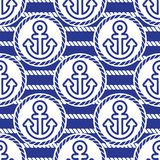 Seamless pattern with anchors. Ongoing backgrounds of marine theme. Stock Image