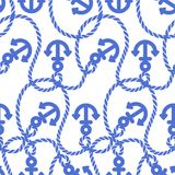 Seamless pattern with anchors. Ongoing backgrounds of marine theme. Stock Photography