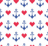 Seamless pattern with anchors. Sea ornament. Stock Photo