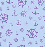 Seamless pattern with anchors and wheels. Vector illustration background. Royalty Free Stock Photo