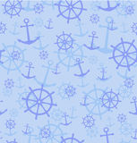 Seamless pattern with anchors and wheels. Vector illustration background. Royalty Free Stock Image