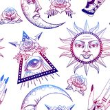 Seamless pattern with ancient astronomical illustration of the sun, the moon. The stars, the rose, the eye in the graphic style of the antique royalty free illustration