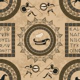 Seamless pattern with ancient greek letters, ships, horses, fighting people and ornament. Traditional ethnic background. Vintage vector illustration Royalty Free Stock Photography