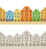 Seamless pattern with ancient houses Royalty Free Stock Images