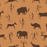 Seamless pattern. Ancient rock paintings show primitive people hunting on animals. The Paleolithic era. Vector illustration royalty free illustration