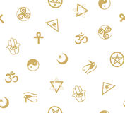 Seamless pattern with ancient sacral symbols. Egyptian, hermetic, religious and magic symbols. Stock Image