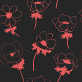 Seamless pattern with anemon flowers Royalty Free Stock Photos