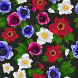 Seamless pattern with anemone flowers stock illustration