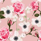 Seamless pattern with anemone and pink roses background. royalty free illustration