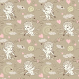 Seamless pattern with angels and cupids Valentine`s Day Royalty Free Stock Photo