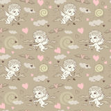 Seamless pattern with angels and cupids Valentine`s Day Stock Photo