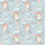 Seamless pattern with angels and cupids Valentine`s Day Stock Image