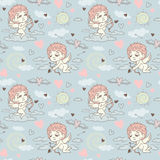 Seamless pattern with angels and cupids Valentine`s Day Royalty Free Stock Photography
