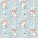 Seamless pattern with angels and cupids Valentine`s Day Stock Photos