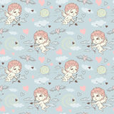 Seamless pattern with angels and cupids Valentine`s Day. To create a design Royalty Free Stock Photo