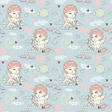 Seamless pattern with angels and cupids Valentine`s Day. To create a design Royalty Free Stock Photography