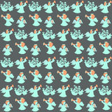 Seamless pattern with angels on grey. Vector illustration of birds and angels Royalty Free Stock Images