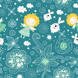 Seamless pattern of the angels and rabbits Royalty Free Stock Photography