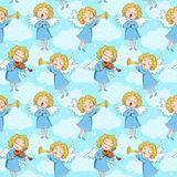 Seamless pattern of angels stock image
