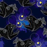 Seamless pattern with Angler fish or monkfish and blue blots Stock Photography