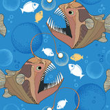 Seamless pattern with Angler fish or monkfish and bubbles Stock Photos