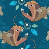 Seamless pattern with Angler fish or monkfish with lantern. Royalty Free Stock Photos