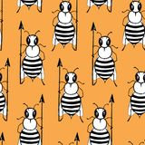 Seamless pattern with angry killer bees on the orange background. Soldier bee with pike. Killer bees army. stock illustration