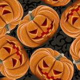 Seamless pattern of angry pumpkins Halloween Royalty Free Stock Images