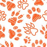 Seamless pattern with animal footprints, pet paw stamps on white background, hatched animal steps, trials and traces, vector illus. Seamless pattern with animal Stock Photo