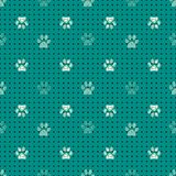 Seamless pattern with animal paw prints. Complex illustration print in black, cream and green. royalty free illustration