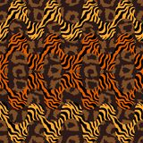 Tiger print waves. Seamless  pattern with animal skin textures. Safari textile collection Stock Photos
