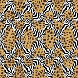 Tiger print waves. Seamless  pattern with animal skin textures. Safari textile collection Stock Images