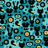 Seamless pattern with animals. Seamless pattern with cute animals vector illustration