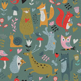 Seamless pattern with animals Stock Images