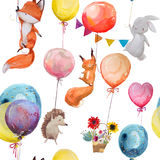 Seamless pattern with animals with balloons