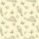 Seamless pattern, animals contours. Seamless pattern, cartoon butterflies, turtles and parrots outlines. Vector Stock Photo