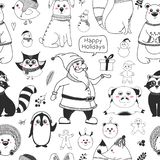 Seamless pattern with animals and different christmas elements. Vector illustration. In sketch style royalty free illustration