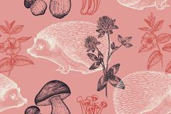 Seamless pattern with animals, flowers and mushrooms. royalty free illustration