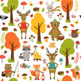Seamless pattern with animals of forest on white background Royalty Free Stock Photos
