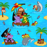 Seamless pattern with animals pirates Stock Photography