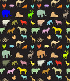 Seamless pattern of  animals silhouettes Royalty Free Stock Photo