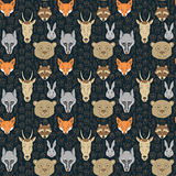 Seamless pattern with animals and traces. Can be used for graphic design, textile design or web design Royalty Free Stock Images