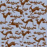Seamless pattern with animals in vector. Seamless graphic pattern of fabulous plants and animals Royalty Free Stock Images