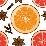 Seamless pattern with anise star, orange and graipfruit slices and clove. Vector Christmas tiled background. Wrapping paper textur Royalty Free Stock Image