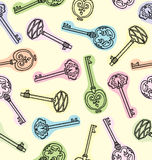 Seamless pattern of antique keys Royalty Free Stock Photos