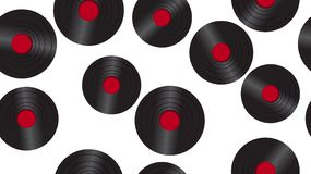 Seamless pattern antique vinyl record on a background of 60s, 70s, 80s, 90s. The background. Vector illustration. Seamless pattern from music audio of an old royalty free illustration