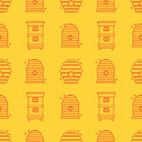 Seamless pattern apiary and beekeeping. Beehives. Beautiful Seamless pattern in a linear style on the theme of apiary and beekeeping. Bee houses, beehives Royalty Free Stock Image