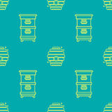 Seamless pattern apiary and beekeeping. Beehives. Beautiful Seamless pattern in a linear style on the theme of apiary and beekeeping. Bee houses, beehives Stock Image