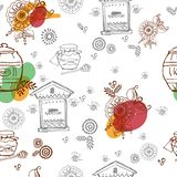 Seamless pattern on apiary, honey, bees. Seamless vector pattern on apiary, honey, bees, hives, for printing on fabric, or wrapping paper vector illustration